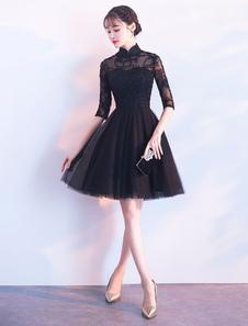 Короткие платья выпускного вечера Платье коктейльное из черного тюльпана