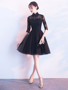 Vestidos de baile cortos Vestido de cóctel de tul de media manga negro