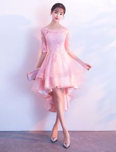 Vestidos de cóctel Vestidos de fiesta de media manga de encaje rosa alto bajo