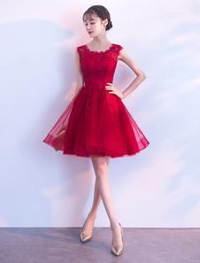 Vestidos 2020 Curtos De Baile Borgonha Lace Applique Tulle Bonito Vestido De Festa De Formatura