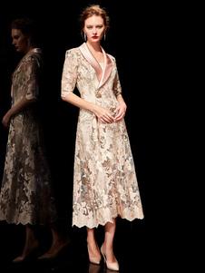 Traje de madre de la novia Vestido formal de dos piezas con media manga bordada hasta la longitud del té