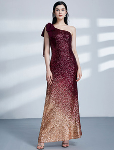 6f43a5526 Vestidos de noche de lentejuelas Burgundy One Shoulder Floor Length Prom  Dress