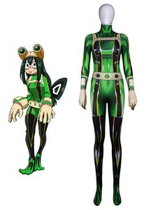 Boku No Hero Academia Tsuyu Asui Froppy BNHA Хэллоуин Косплей Костюм Lycra Spandex Catsuit Jumpsuit