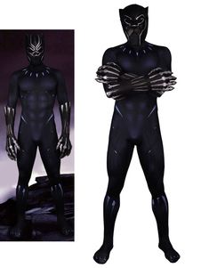 Black Panther Marvel Comics Halloween Traje Cosplay Lycra Spandex Catsuit Macacão