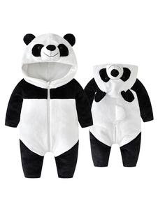 Panda traje criança halloween branco flanela jumpsuit crianças