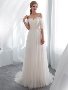 Vestidos de casamento do marfim fora do ombro meia manga vestido de noiva de praia de tule com trem