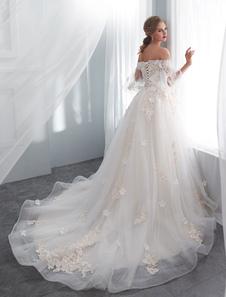 فساتين زفاف الأميرة نصف كم قبالة الكتف الرباط الزهور اللؤلؤ زين فستان الزفاف العاج مع قطار