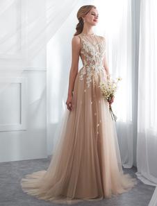 シャンパンウェディングドレスレースチュールイリュージョンロングウェディングドレス