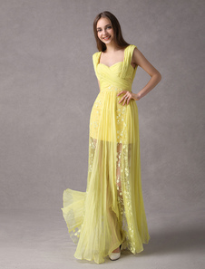 9237dff96a58a حفلة موسيقية فساتين Daffodil طويل الرباط الشيفون الوهم الطابق طول حزب اللباس