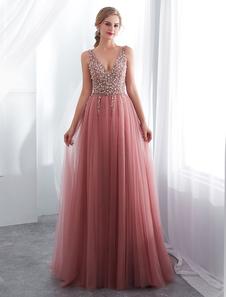 Prom Dresses Cameo Pinkv Neck Beading A Line Vestido De Noite Formal Com Trem