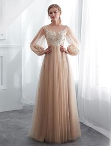 Платье выпускного вечера с шампанским с длинным рукавом