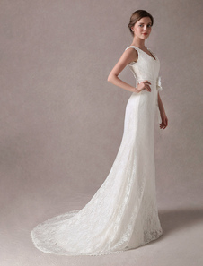 Vestidos de casamento sereia Lace V Neck Flower Sash Marfim vestido de noiva com trem