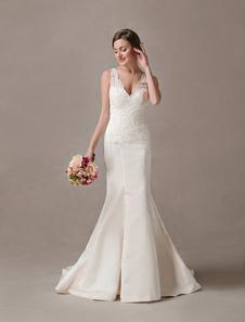 حورية البحر فساتين الزفاف العاج الرباط الأقواس مطرز الخامس الرقبة قبالة الكتف فستان الزفاف