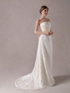 Vestidos De Casamento De Laço Sem Alças De Marfim Frisado Sash Sash Arcos Maxi Vestido De Noiva Com Trem