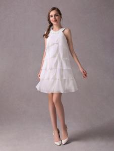 Vestidos De Casamento Curto Chiffon De Marfim Vestido De Festa Frisada Em Camadas Uma Linha Halter Vestido De Noiva