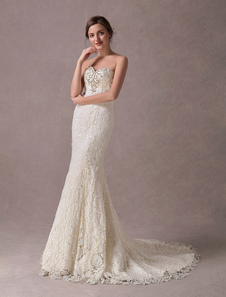 Русалка свадебные платья кружева без бретелек слоновая кость из бисера свадебное платье с поездом