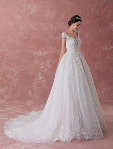 Vestidos de novia de la princesa vestidos de bola de encaje rebordear lentejuelas de marfil de lujo vestido de novia capilla tren