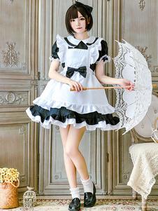 Горничная Lolita Outfit Кружевное платье с оборками и оборками Lolita One Piece Платье с фартуком