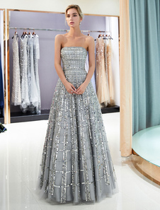 Платья выпускного вечера Длинные без бретелек Sequin Светло-серый Длина пола Роскошные платья женщин-женщин