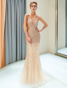 Светло-золотые вечерние платья Платье выпускного вечера Mermaid V Официальные платья