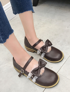 Clássico Lolita Sapatos Bow Plissado Folho Marrom Lolita Calçado