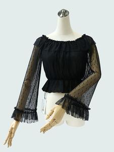 Sweet Lolita Блузка Шелковая кружева Ruffle Polka Dot Semi Sheer Black Lolita Top