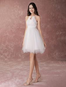 Короткое свадебное платье Halter Маленькое белое платье Tulle A Line Cute Homecoming Dress