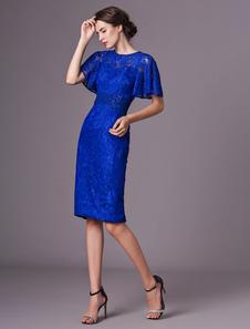 Матерь платья невесты Кружево короткое королевское синее платье коктеила Платье венчания длиной до колена длиной до колен