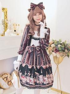 Lolita clássico OP vestido de impressão arco laço guarnição Lolita preto vestido de uma peça