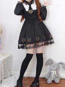Vestido Lolita OP clásico Vestido de encaje Starlet Lolita negro Vestido de una pieza