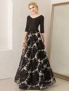 Vestidos de fiesta largos Vestidos de fiesta florales vestido de partido formal de longitud media con cuello en V bordado de encaje negro