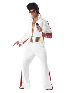 ديسكو زي الرجعية 1970s هالوين الرجال الزي السراويل سترة بيضاء وشاح 3 قطعة