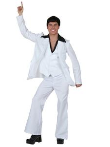 ريترو حلي ديسكو 1970s هالوين الرجال الأبيض الزي صدرية سترة السراويل حزام 4 قطعة