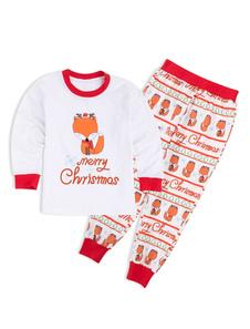 Disfraz Carnaval un Juego de Familia Pijamas Navidad Niños Blanco Zorro Impreso Top y Pantalones 2 Piezas Juego Para Chicos Carnaval