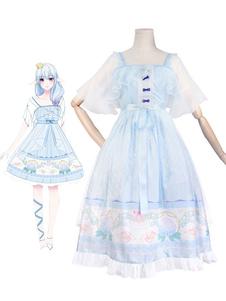 Sweet Lolita OP Vestido Bell Orquídea Imprimir Ruffle Bow Chiffon Lolita Vestido De Uma Peça