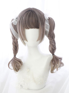 Dolce Lolita Wig Blunt Bang Hime Cut Natural Wave Ombre Lolita Hair Wig