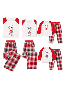 Pijamas De Família 2020 De Harmonização De Natal Pai Xadrez Vermelho Impresso Top E Calças 2 Peças Set Para Homens
