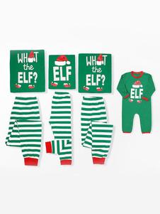 Pijamas De Natal 2020 Combinando Família Pajamas Pai Verde Listrado Impresso Top E Calças 2 Peça Set Para Homens