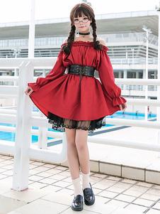 الكلاسيكية لوليتا المرجع فستان الرباط تريم هدب الأحمر لوليتا قطعة واحدة اللباس