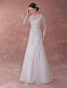 Белые свадебные платья Кружева аппликация Sequin Бисероплетение с длинным рукавом A Line Illusion Floor Length Bridal Dress