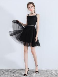 Маленькие черные платья Tulle Short Платья для выпускного вечера Платье Cute Homecoming