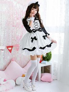 Maid Lolita OP Vestido Arco Rendas Até Ruffle Lolita Vestido De Uma Peça