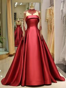 Vestidos de fiesta largos Quinceañera roja Vestido Mujeres Lujo Satén Manga larga Cuello alto con cuentas Princesa Vestido de fiesta