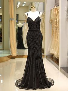 Vestidos de baile preto sereia luxo pesado frisado correias longo vestido de noite formal