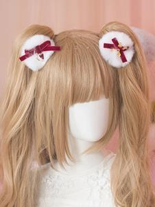 Sweet Lolita Accessorio per capelli Strawberry Heart Bow Furry White Lolita Hair Clip
