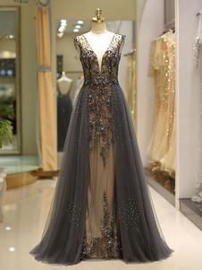Вечерние платья Серый роскошный тяжелый вышитый бисером тюль Backless V шеи формальное вечернее платье с поездом