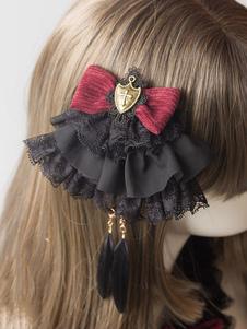 Gothic Lolita Hairpin Lace Ruffle Bow Lolita Accessorio per capelli
