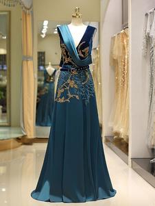 Роскошные вечерние платья Сатинированная бархатная вышитая бисером чернильница Blue V Шея Линия Формальное платье