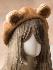 甘いロリータベレー帽かわいいクマ耳ウールロリータ帽子
