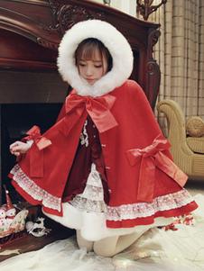 Sweet Lolita Poncho Кружевной лук Ruffle Furry Hood Кашемир Lolita Cape